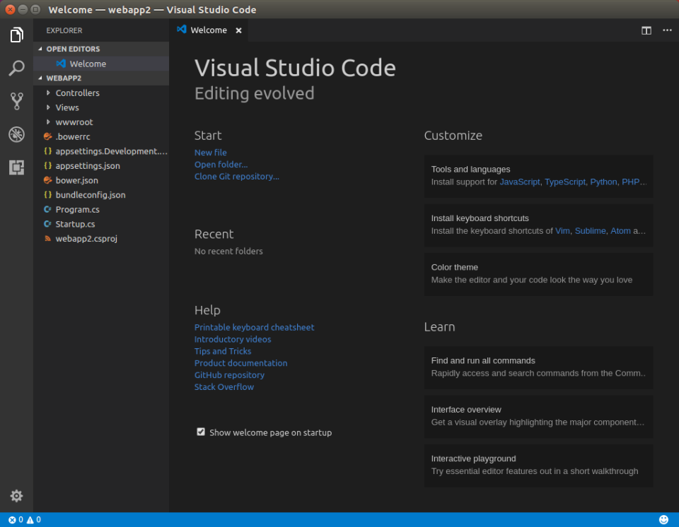 vscode 1 first launch
