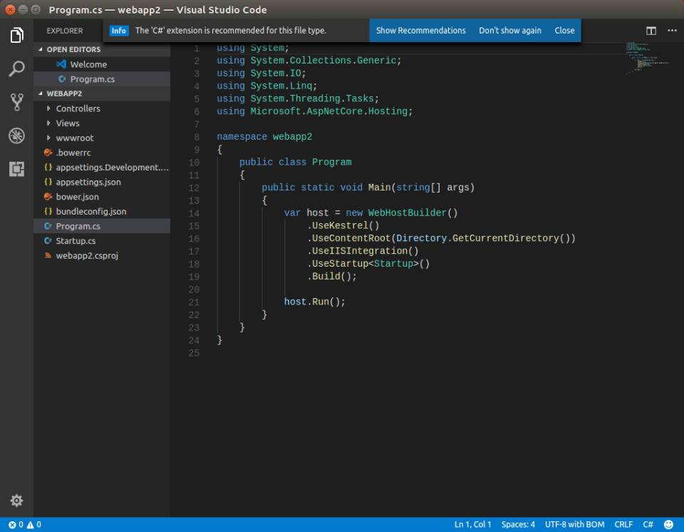 vscode 2 missing C# extension