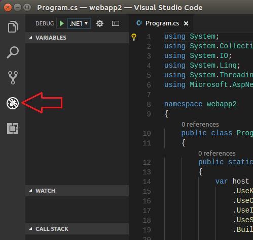 vscode 5 click debug icon